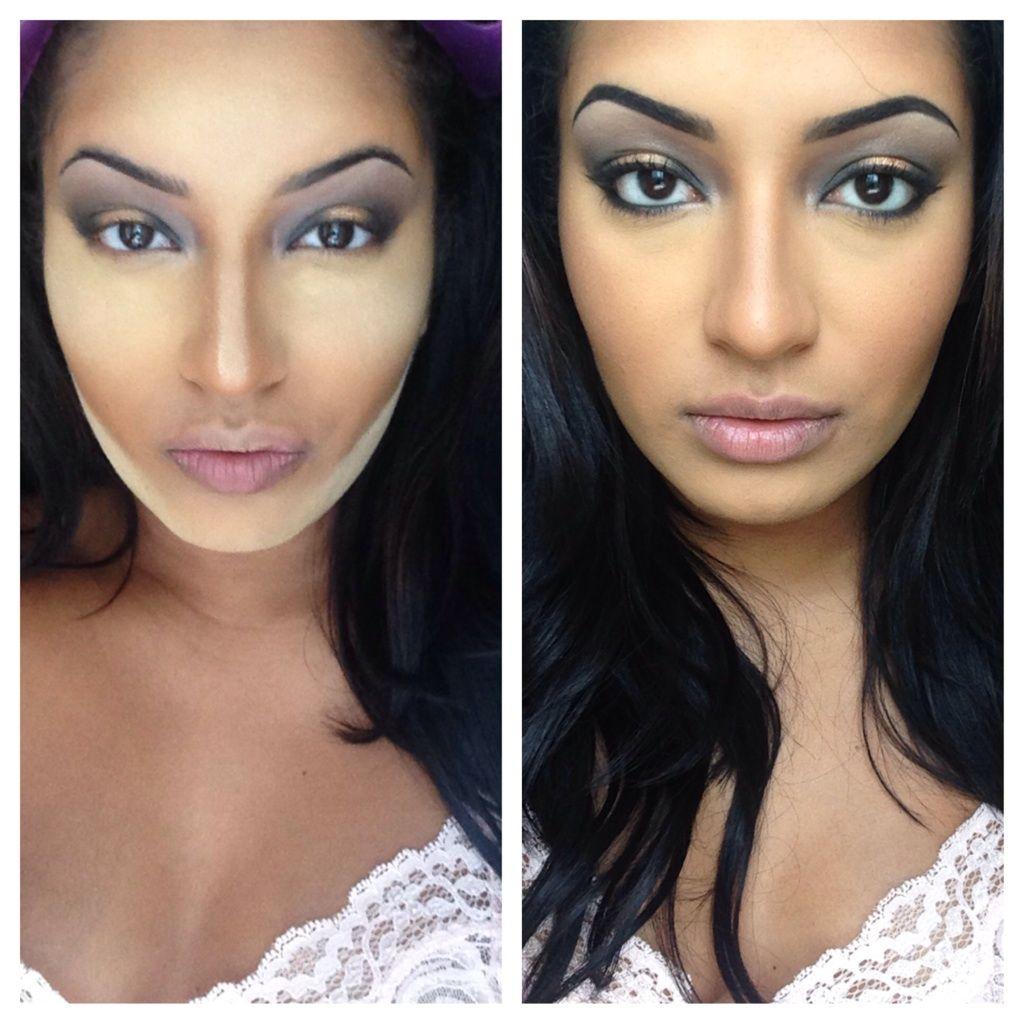 Before and after using Ben Nye banana powder Beauty