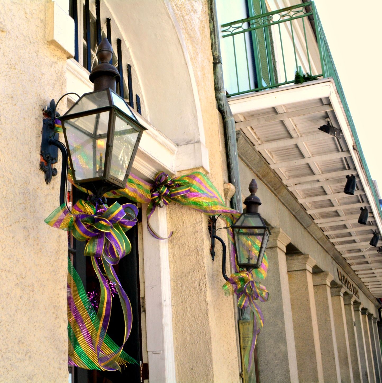 Dressed up Bevolo Lights for Mardi Gras! (scheduled via