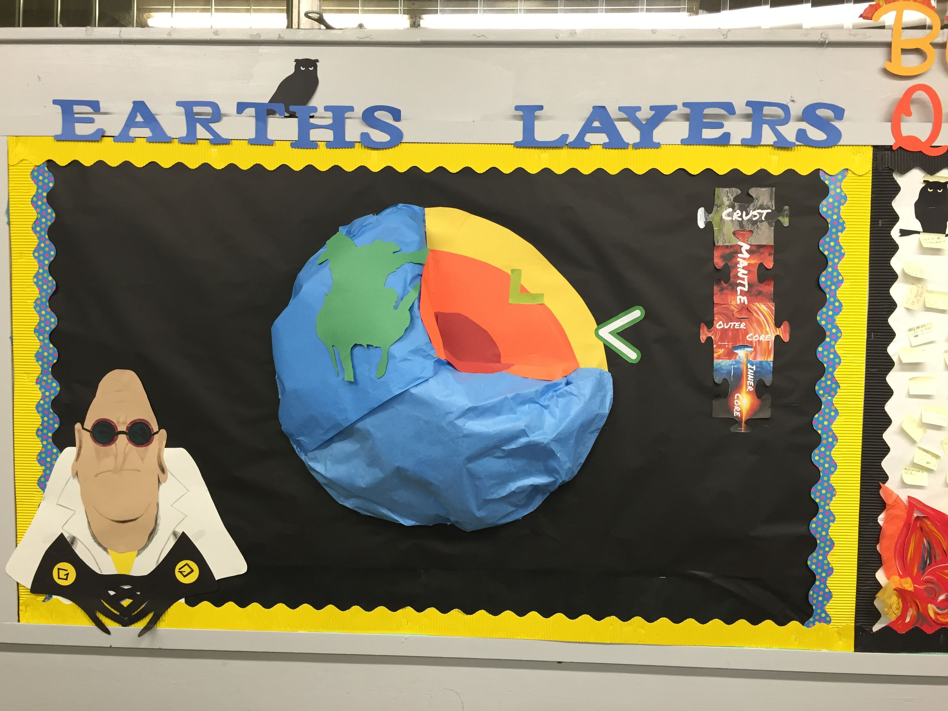 In my classroom- earth layers bulletin board (3D)   school