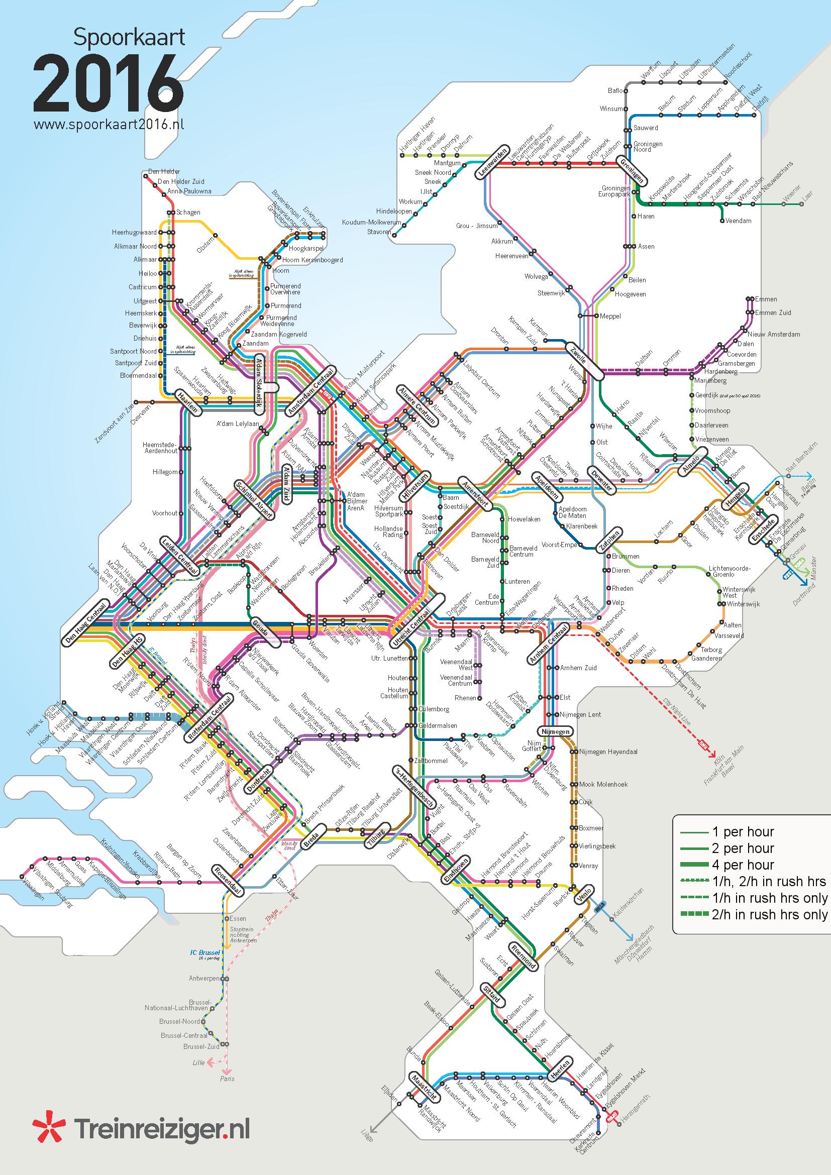 Dutch Railways line frequency map by treinreizigernl map