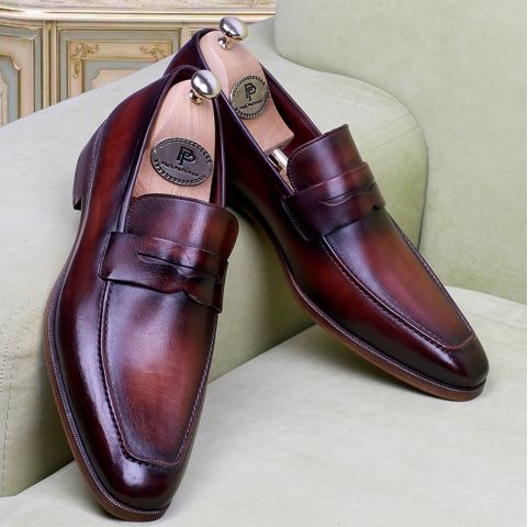 7ab6cd44ee7 Paul Parkman Men s Penny Loafer Bordeaux and Brown Calfskin (ID ...