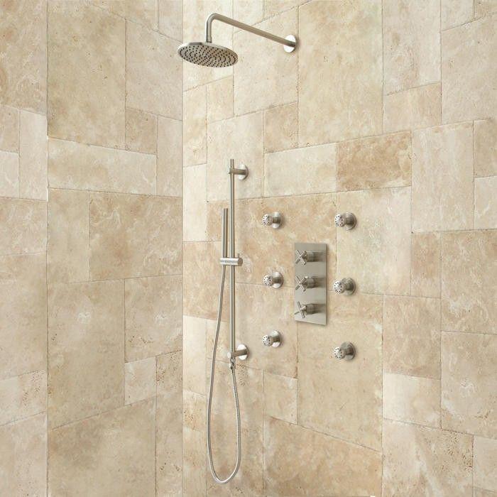 Exira Thermostatic Shower System Hand 6 Body Sprays