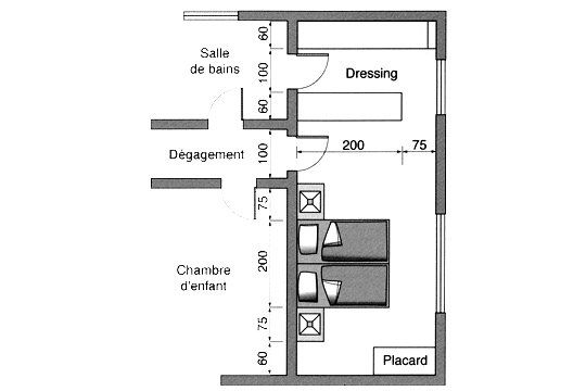 Chambre avec dressing et salle de bain 5 plan chambre Plan chambre dressing salle de bain