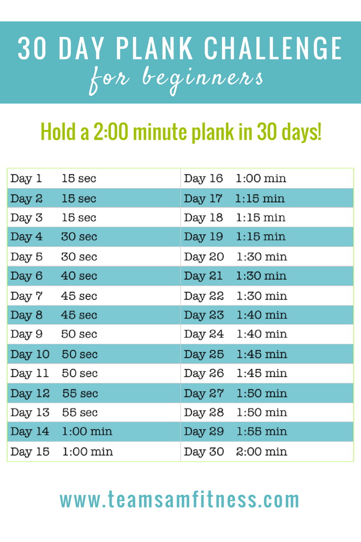 Join the September 30 Day Plank Challenge and hold a 2:00 minute ...