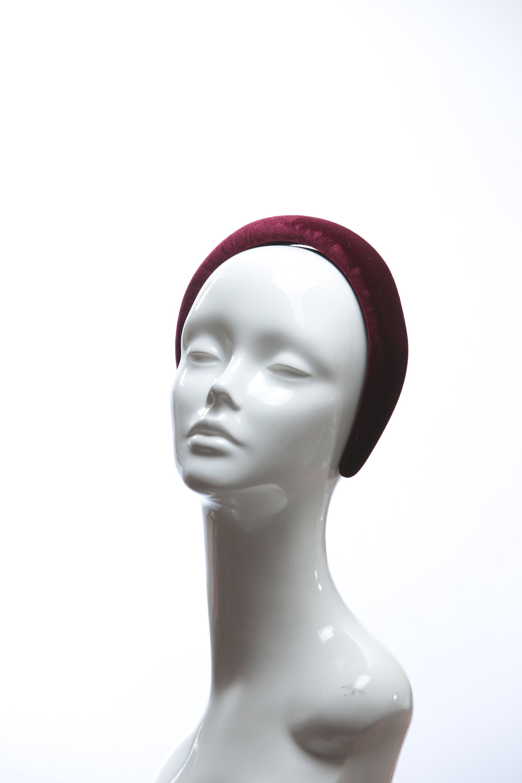 Wine Burgundy Velvet Padded crown fascinator headband - all handmade and handsewn