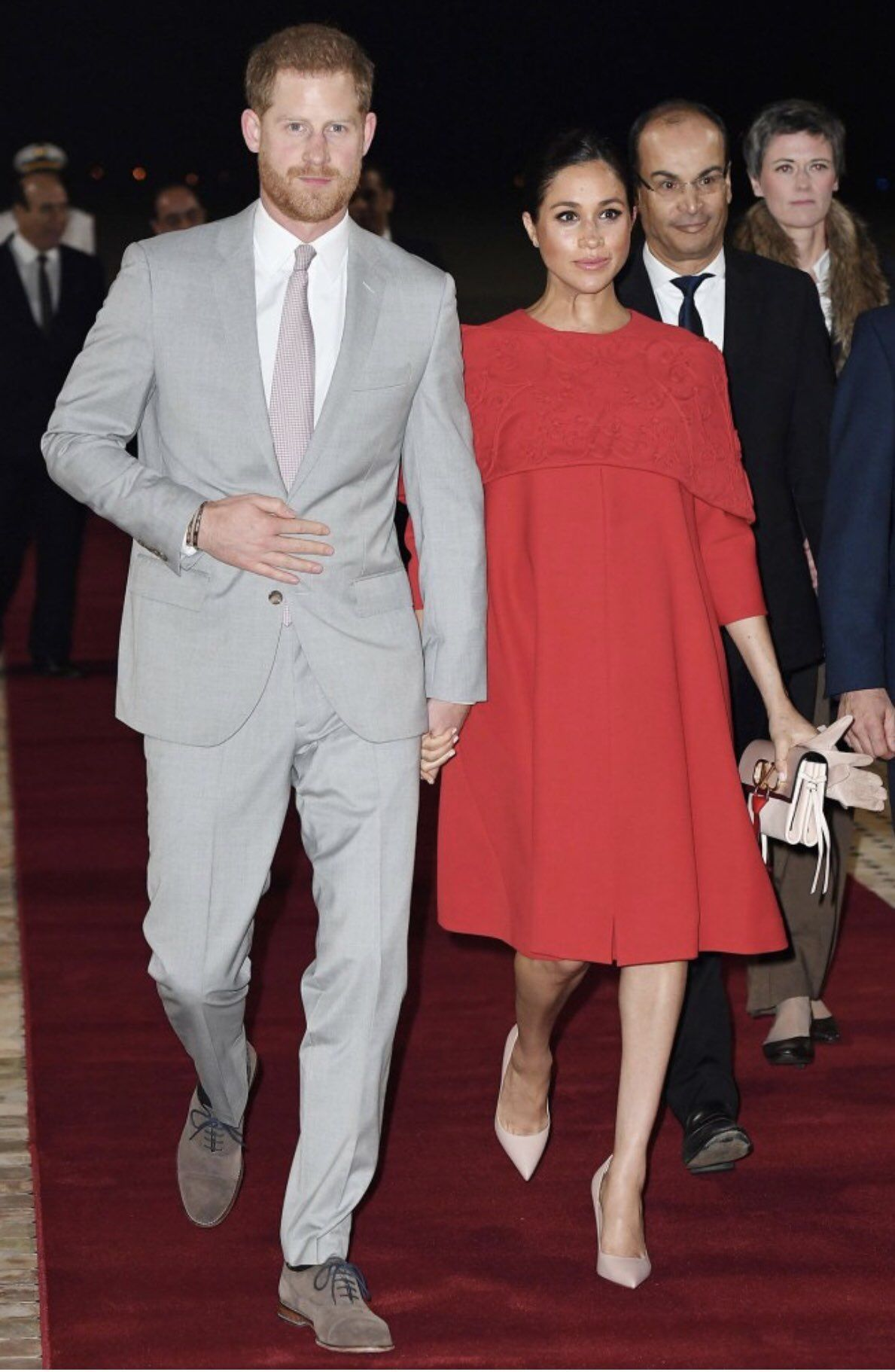 23 February 2019 Official Visit To Morocco Day 1 Casablanca Welcome Ceremony Dress By Valentino Clutch By Cape Dress Red Valentino Dress Prince Harry