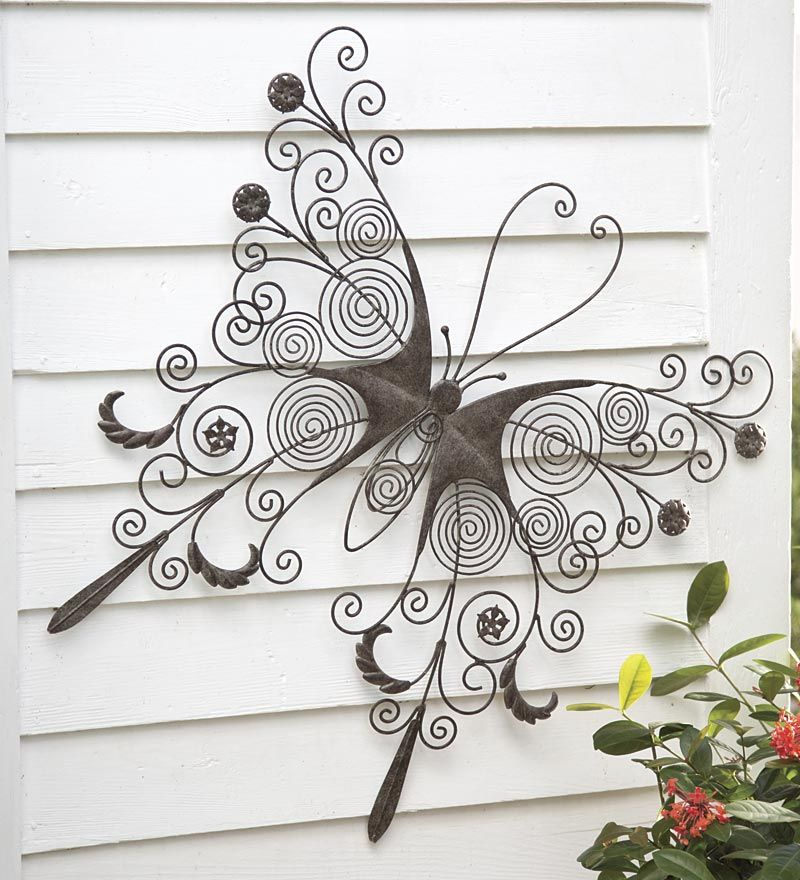 Large metal butterfly wall art my style pinterest for Outdoor metal wall art