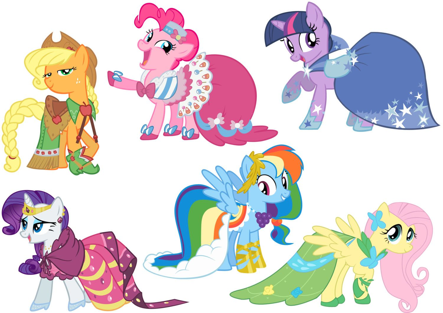 Mane six in their Gala Dresses, for refrences | MLP ...