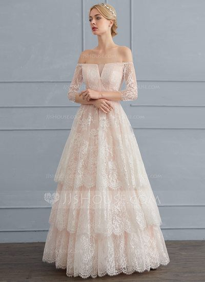 Ball-Gown Off-the-Shoulder Floor-Length Lace Wedding Dress ...