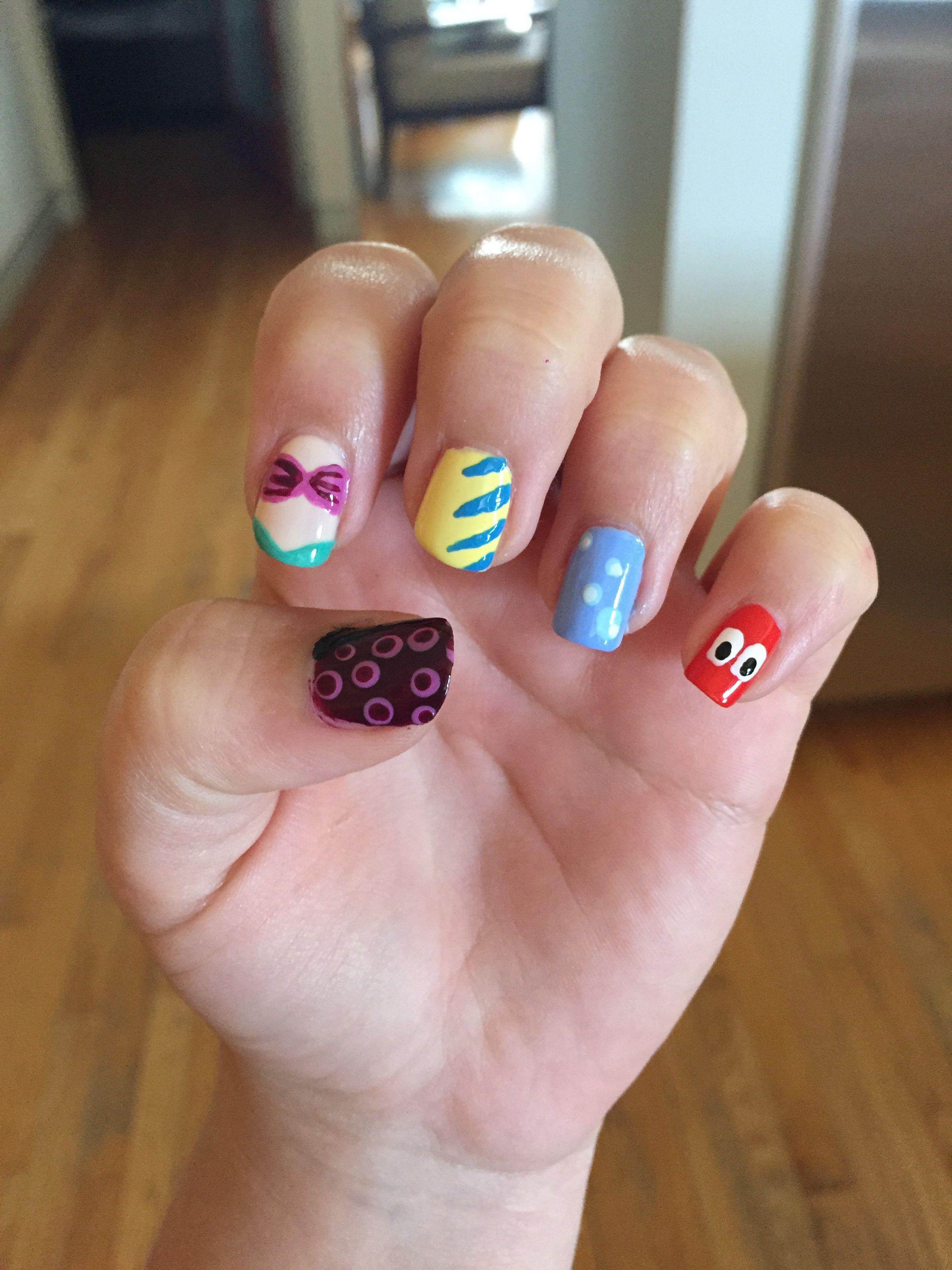 Little mermaid nails (sebastion, bubbles, flounder, Ariel, and ...