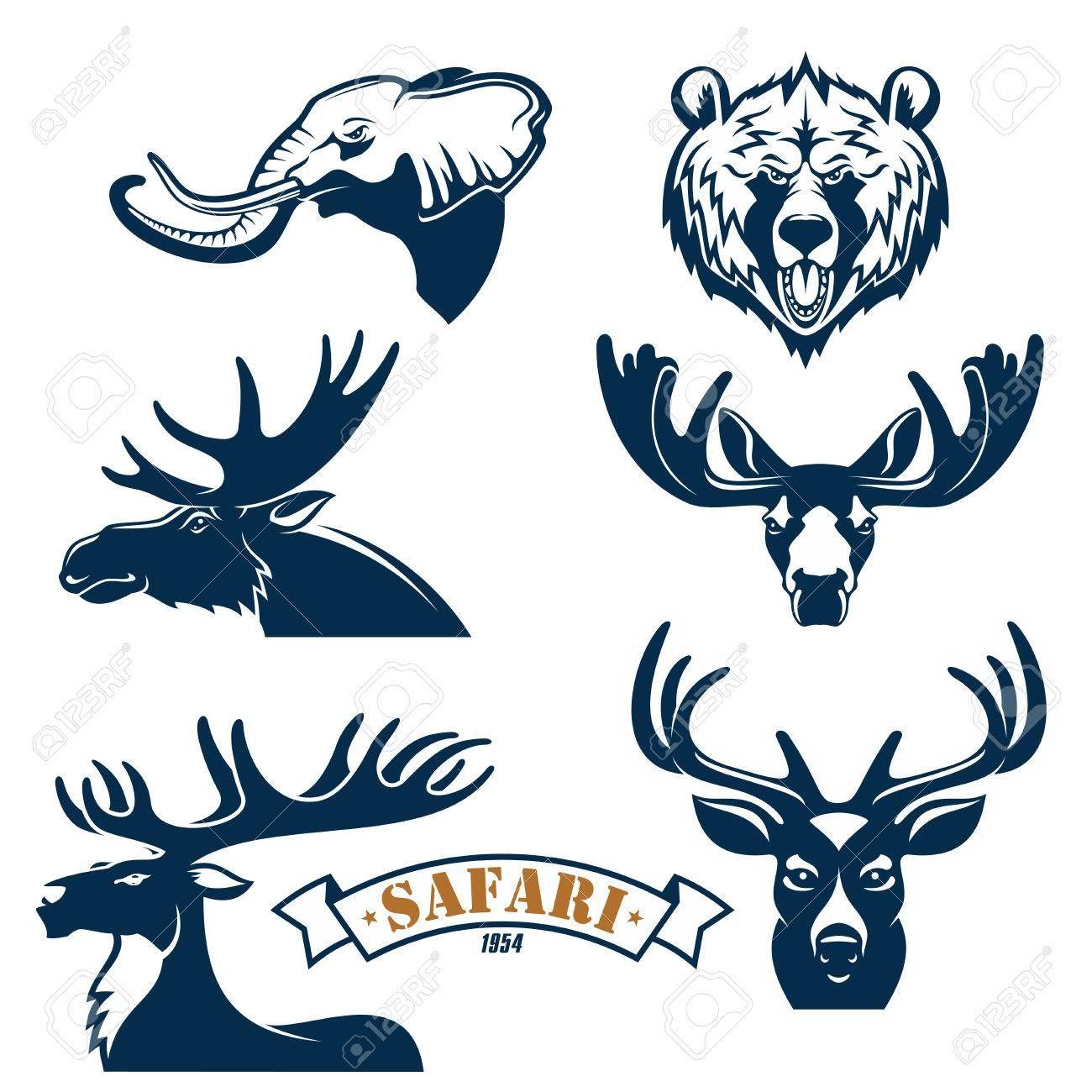 caza emblemas del club y de conjunto de iconos safari insignias caza ...