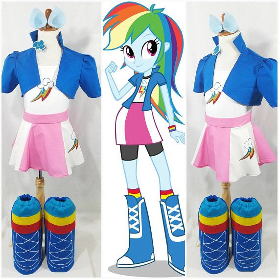 Redesigned: Rainbow Cropped Jacket, Skirt, Boots, Hair Clip and Ears ...