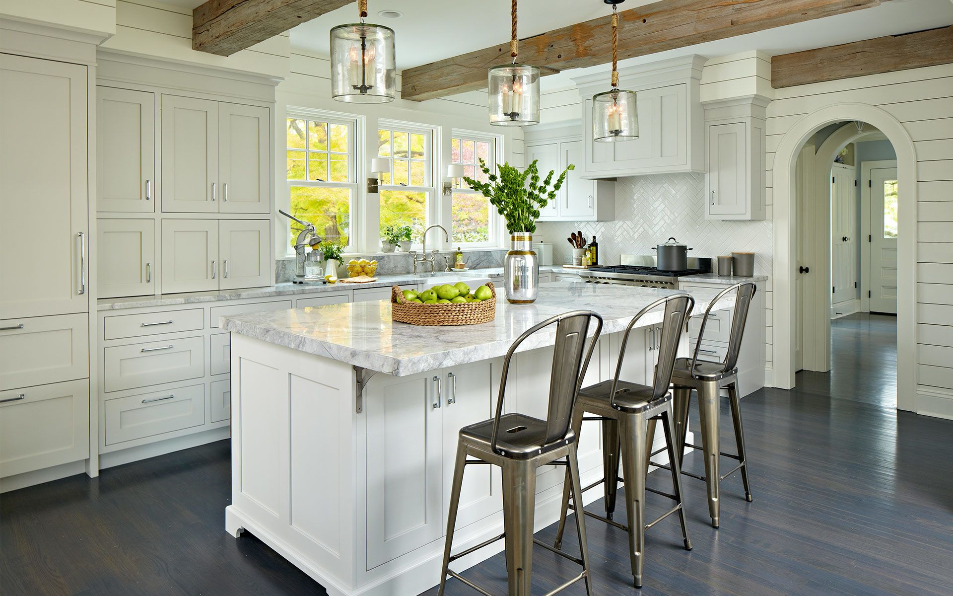 Contemporary Kitchen Designed By Deane Inc With Custom Cabinetry Custom Countertops Wooden Beams An White Kitchen Island Kitchen Design New Kitchen Cabinets