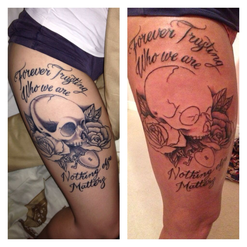 Progress pic! First and last sitting. Skull and rose thigh