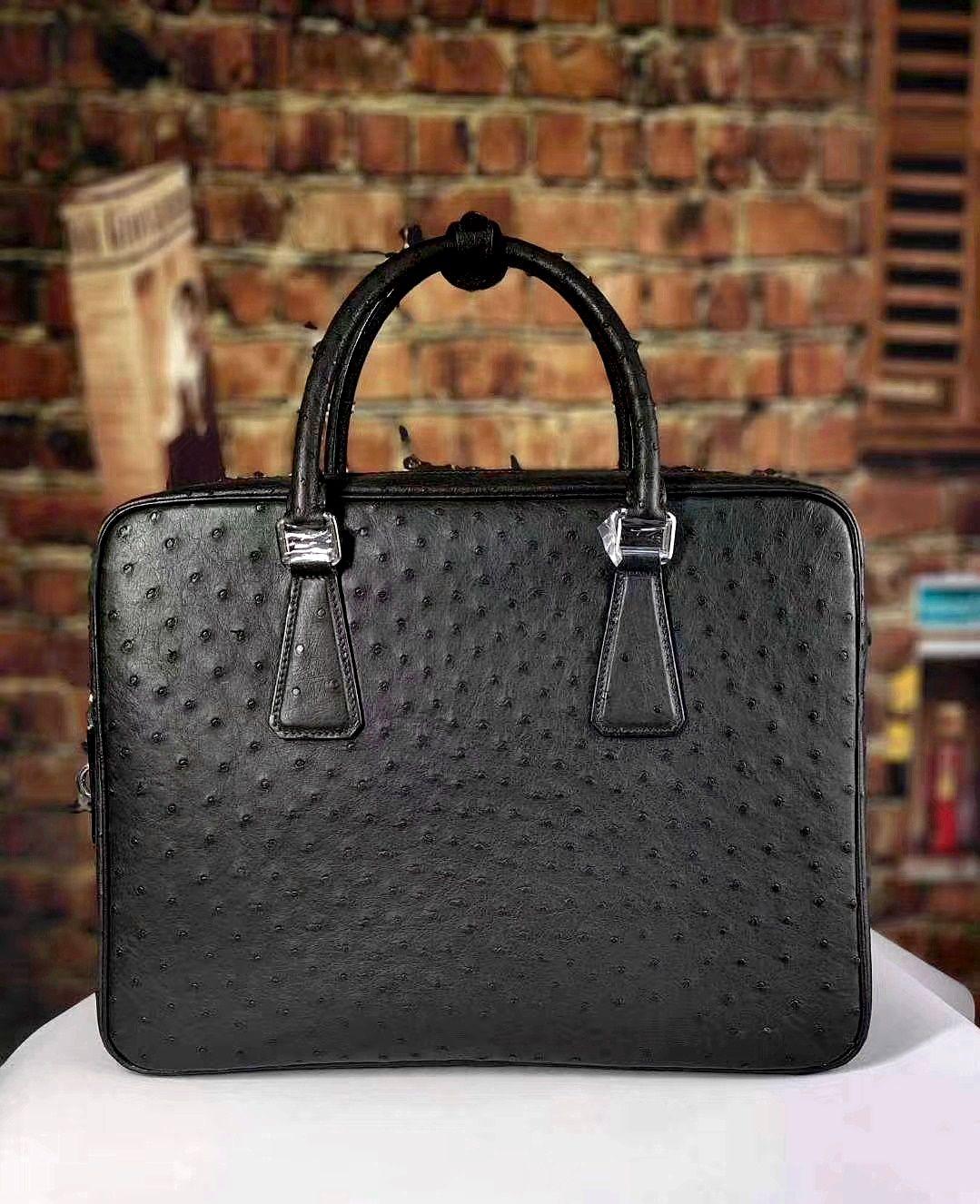 Slim Ostrich Business Bag Designer Ostrich Briefcase for