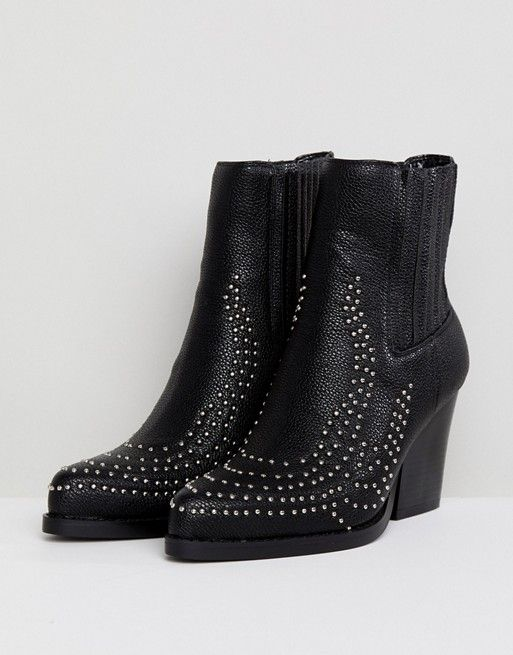 PRETTYLITTLETHING Studded Western Ankle Boot
