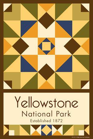 Olde America Antiques | Quilt Blocks | National Parks | Bozeman Montana : Montana - Yellowstone National Park Quilt Block