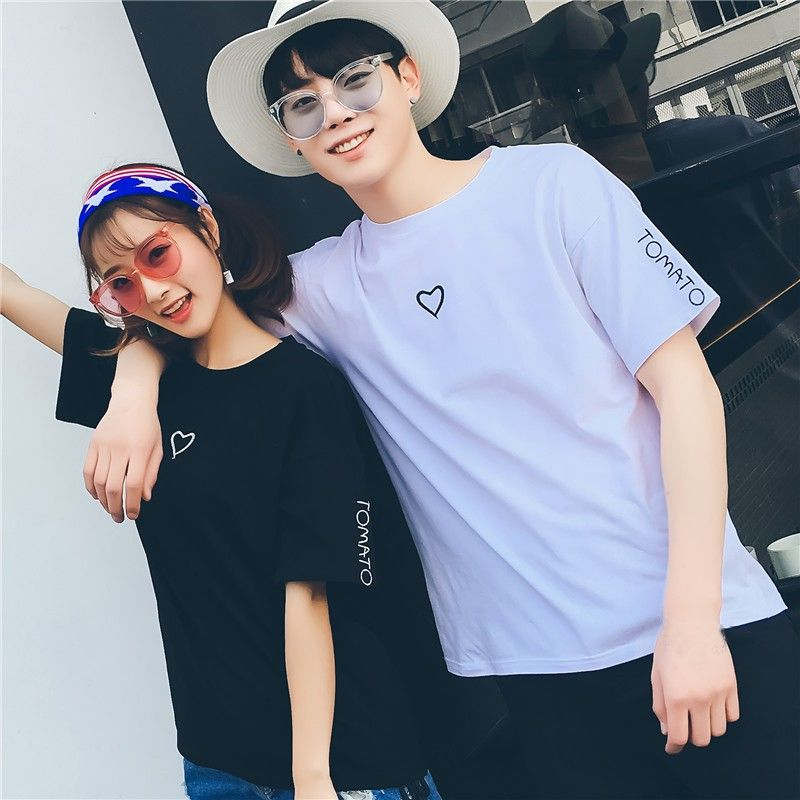 Download Free Shipping Love Heart O Neck Casual T Shirt Couple Shirt Design Casual T Shirts Cute Couple Shirts