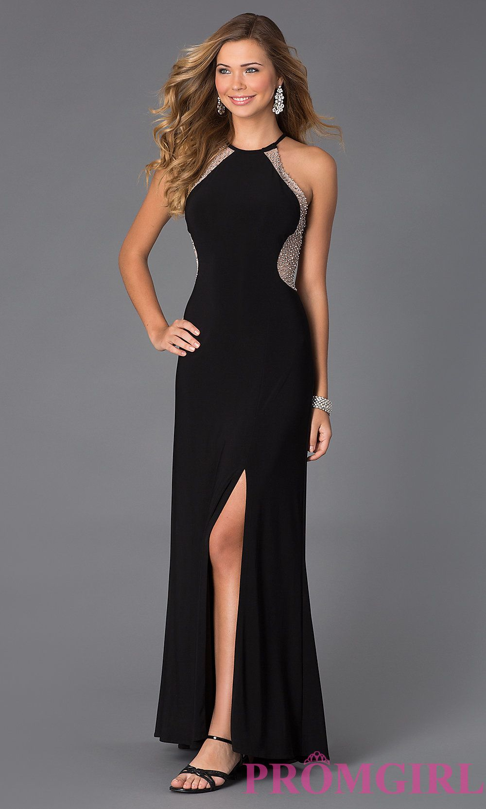 Image of Halter Long Sheer Back Black Prom Dress Style: MO-12015 ...