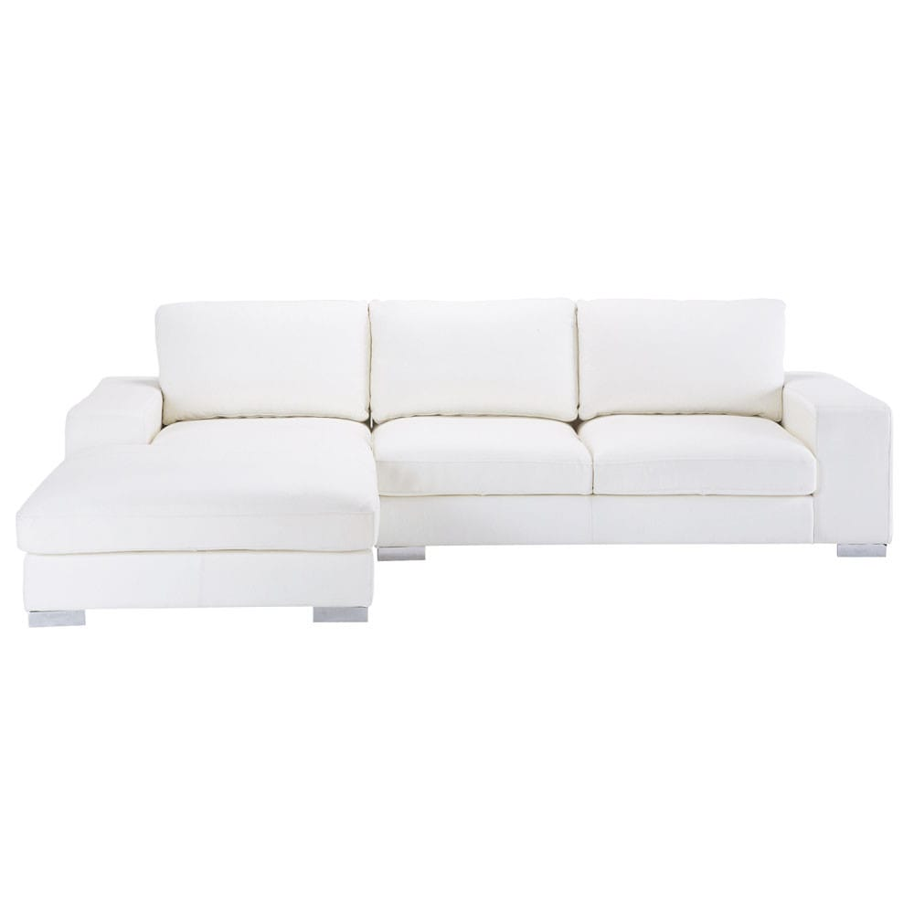 Canape D Angle Droit 5 Places En Cuir Blanc New York Canape Angle Canape Angle Convertible Canape Angle Blanc