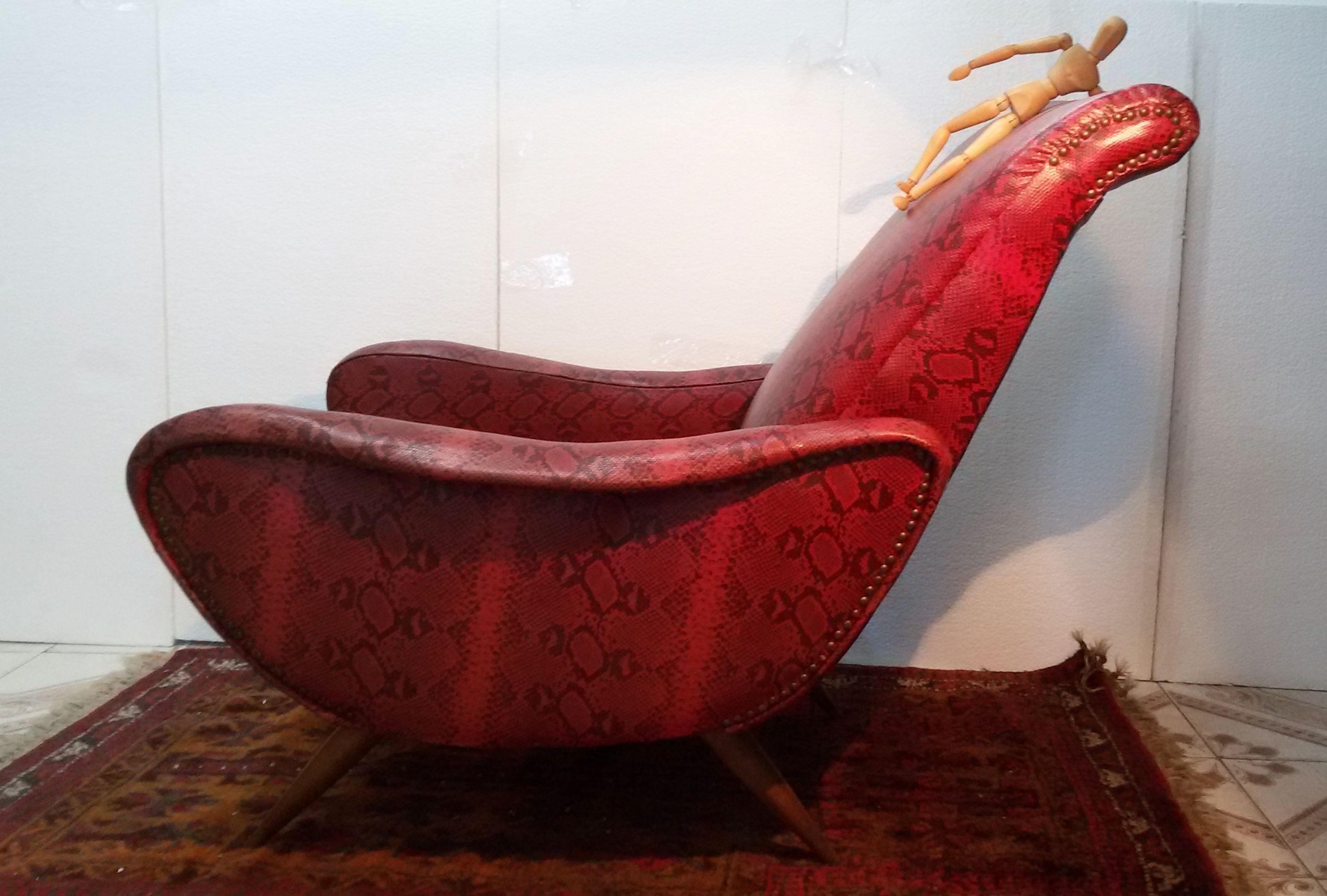 poltrona Chair armchairs design Marco Zanuso anni 50 60 sky pitonato vintage