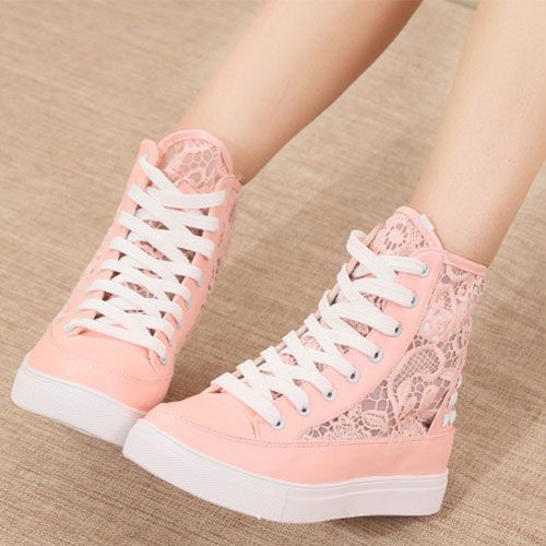 Lace Mesh Rivets High Top Lace Up