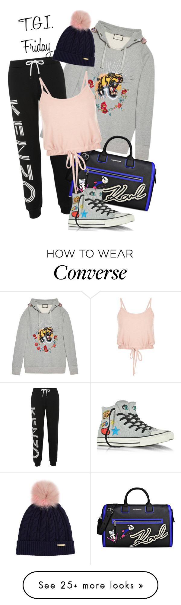 """Weekend!!!"" by velvy on Polyvore featuring Gucci, Kenzo, Karl Lagerfeld, Converse and Burberry"