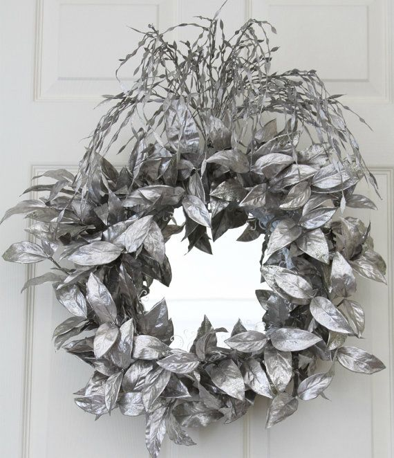 Silver Reflections Mirrored Wreath // Decorative Wall Mirror ...