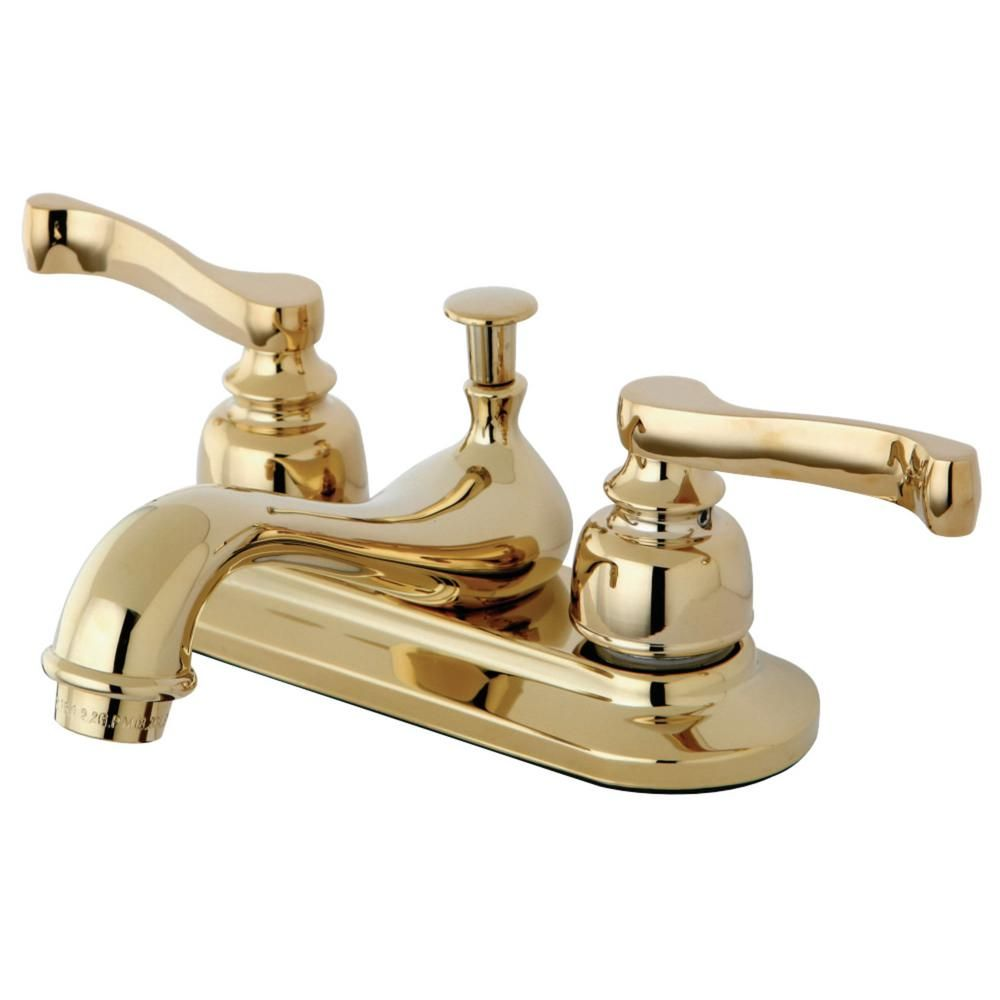 Kingston Brass Royale 4 In Centerset 2 Handle Bathroom Faucet In Polished Brass Hkb8602 The Home Depot Kingston Brass Polished Brass Bathroom Faucets
