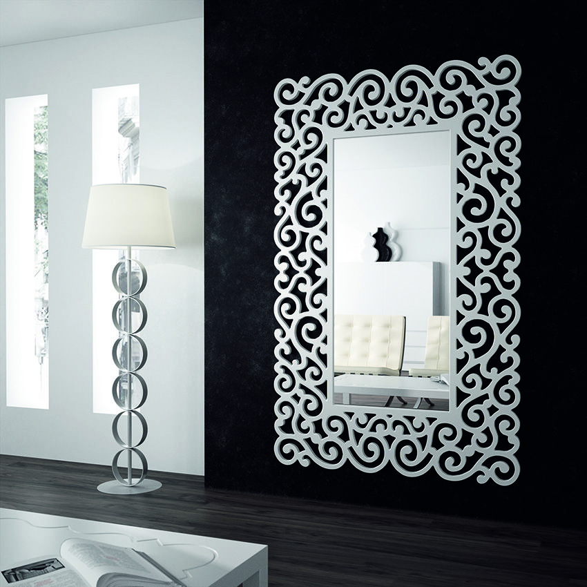 Espejo moderno espejos de cristal espejos baratos espejos for Disenos de espejos tallados en madera