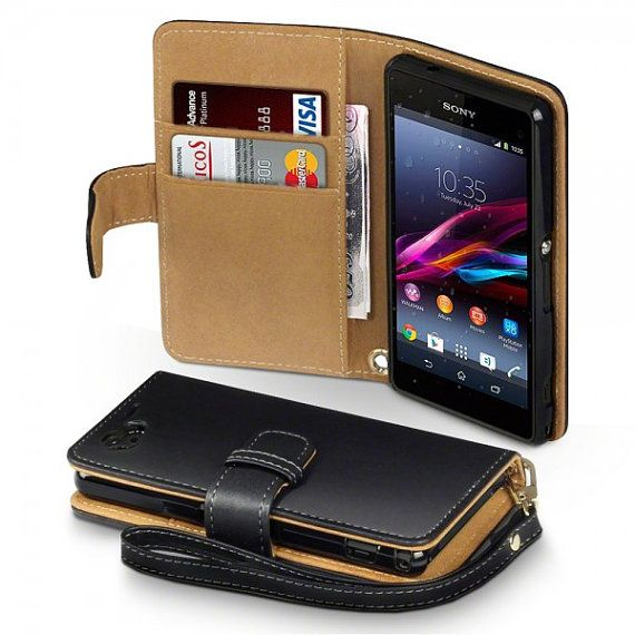 finest selection e214e 1f80a Black Faux Leather Wallet Case for Sony Xperia Z1 Compact | Phone ...