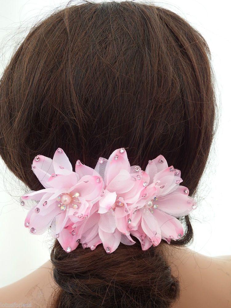 Bridal bridesmaid wedding flower hair comb slide
