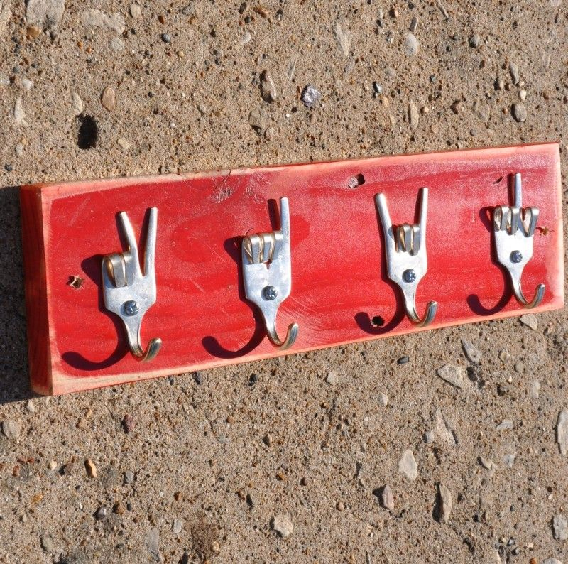 Cool! Peace x Love x Rock On x Fork U Keys Rack. Seen at http://www.etsy.com/shop/jjevensen?ref=seller_info