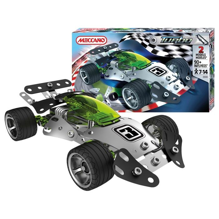 meccano turbo car construction kit build 2 different racing car models with this awesome kids