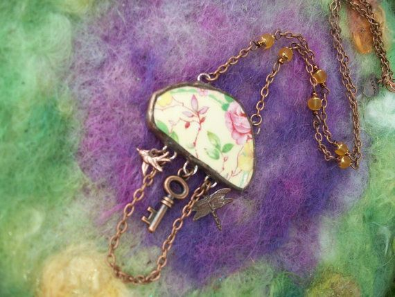 Charming Garden Broken China Necklace by GratefulBeads on Etsy, $35.00