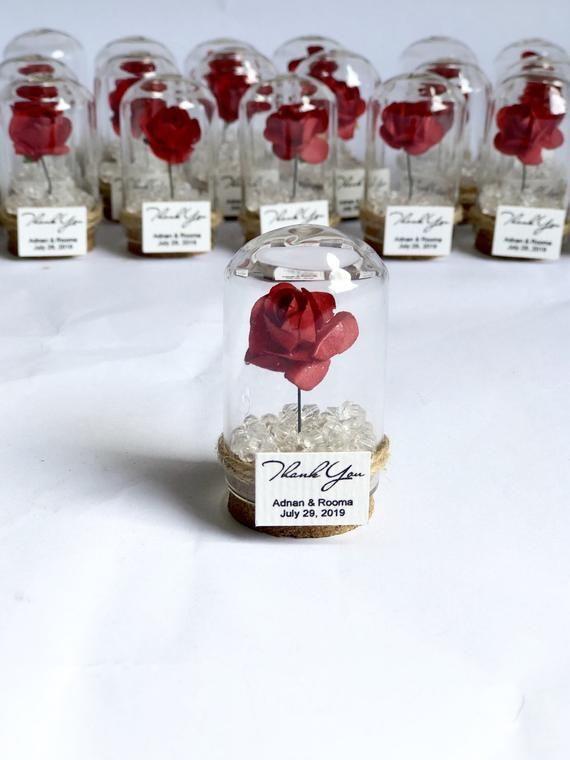 10pcs Favoris de mariage pour les invités, Favoris de mariage, Favoris, Dôme, Favoris personnalisés, Beauté et la Bête, Quinceanera Sweet 16, Rose Dome Favors