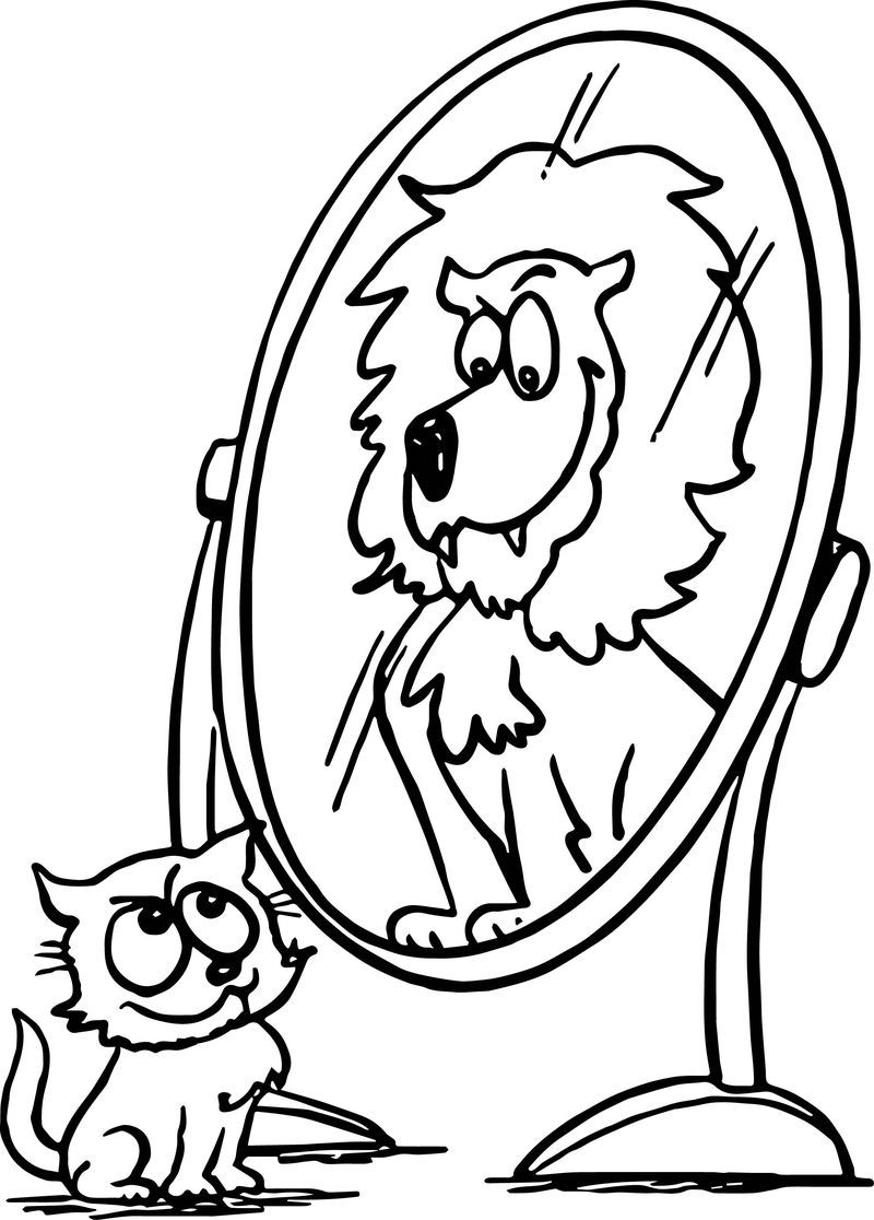 Activity Animal Cat Lion Mirror Coloring Page