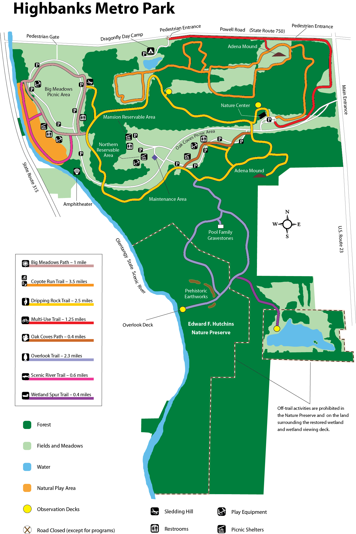 Metro Parks Central Ohio Park System Highbanks Map