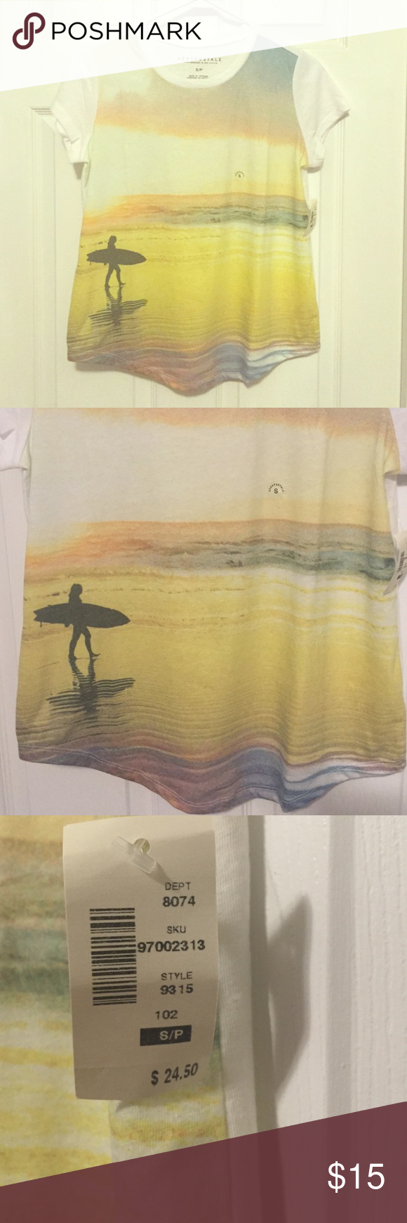 Aéropostale Surfer Tee Surfer tee purchase in NYC location. New with tags. Never worn. Very cute! Aeropostale Tops Tees - Short Sleeve
