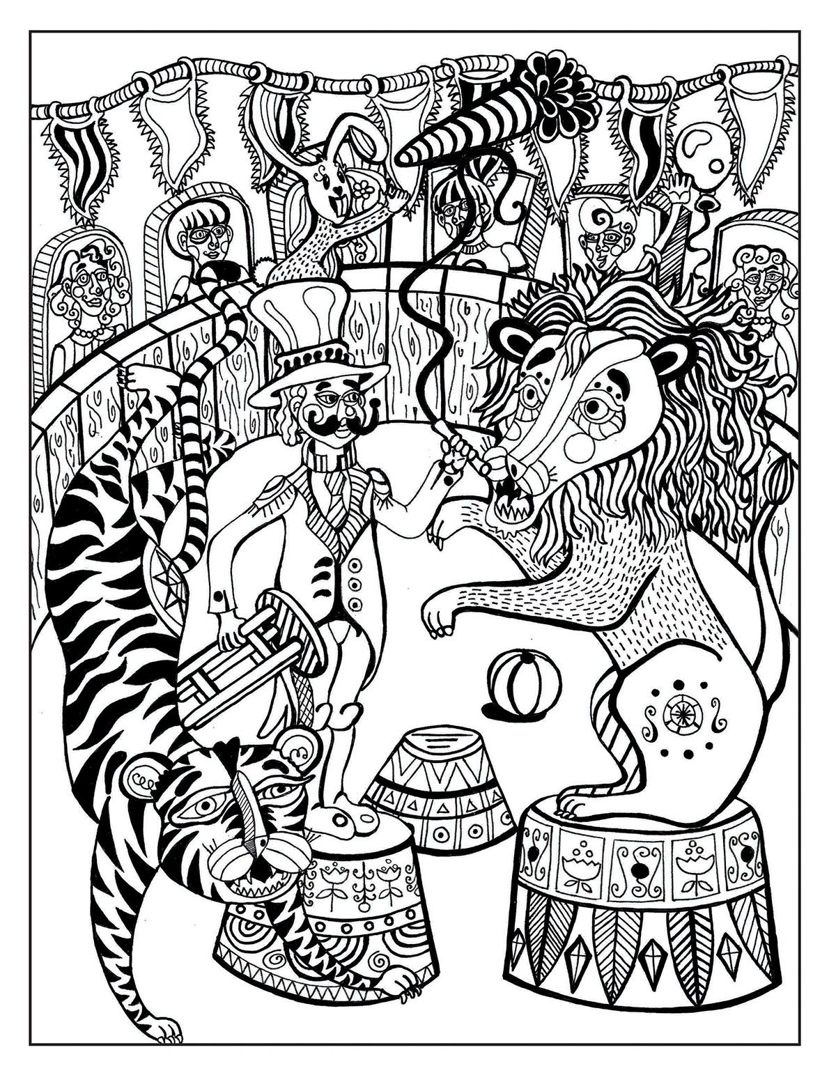 A Day At The Circus Coloring Page On Behance Coloring Book Pages Coloring Books Pattern Coloring Pages