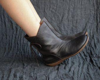 Handmade Black Women Leather Boots,Oxford Retro Wo