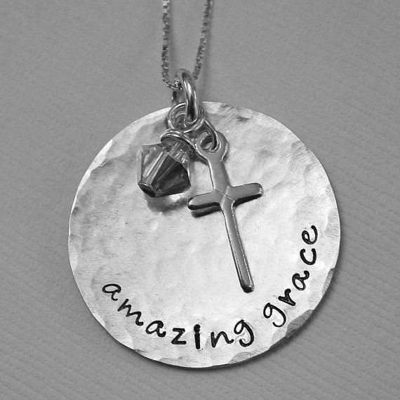 3ff05cf7ca86d9 Amazing Grace Necklace in beautiful sterling silver & hand stamped by  SusansJewelryDesigns