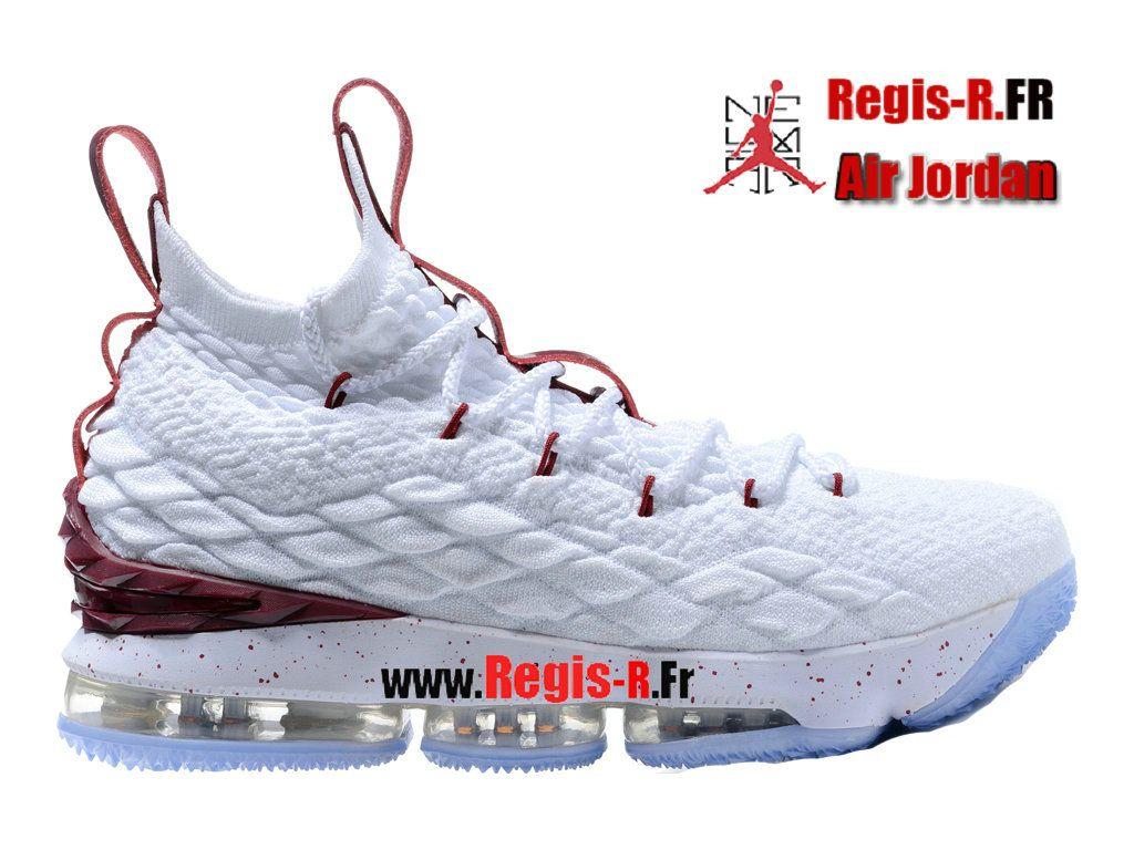 c44533f20cb34 Nike LeBron 15 Blanc/Noir Chaussures Basket Officiel Sneakers Pour Homme