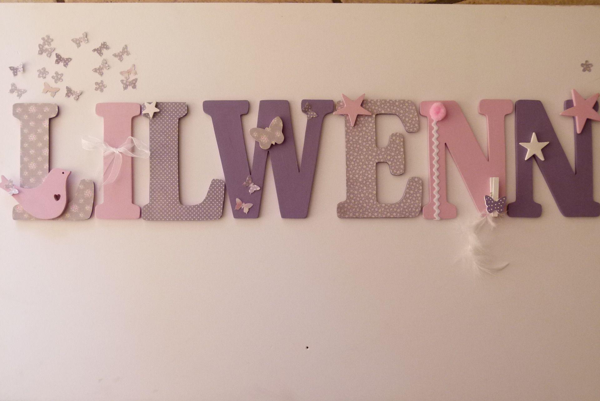 lettres prenom bois medium lilwenn sur commande decoration ninon pinterest. Black Bedroom Furniture Sets. Home Design Ideas