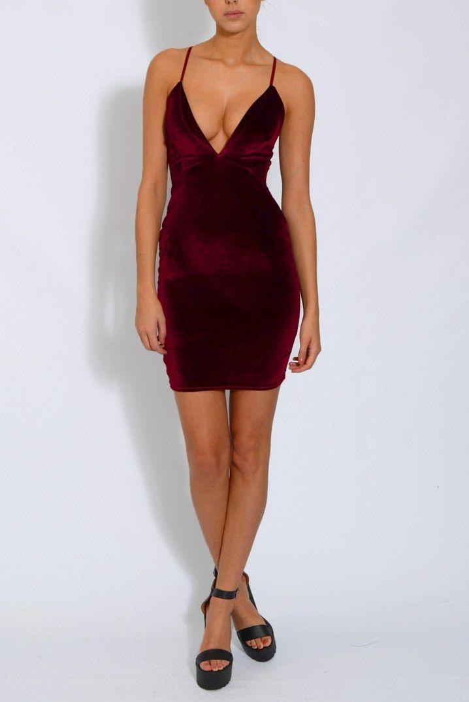 Image for Wine Velvet Plunge Dress