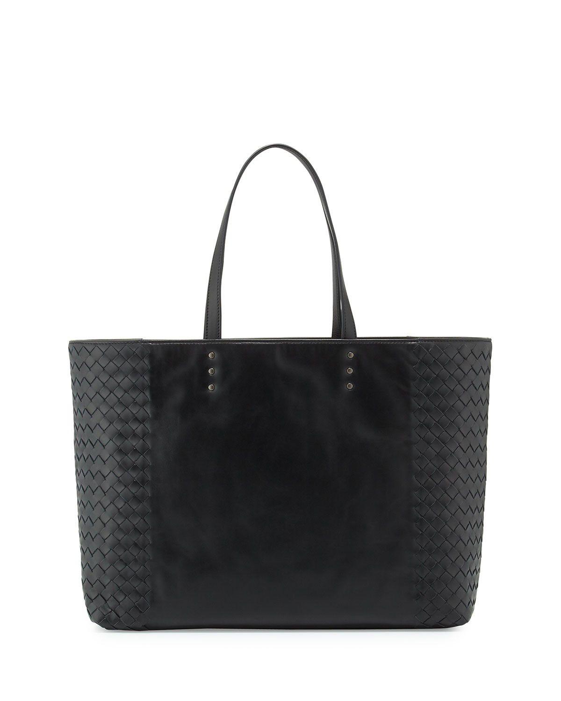 Bottega Veneta Woven-Side Medium Tote Bag Black  bagsandpurses ... 3ba0dabb1c617
