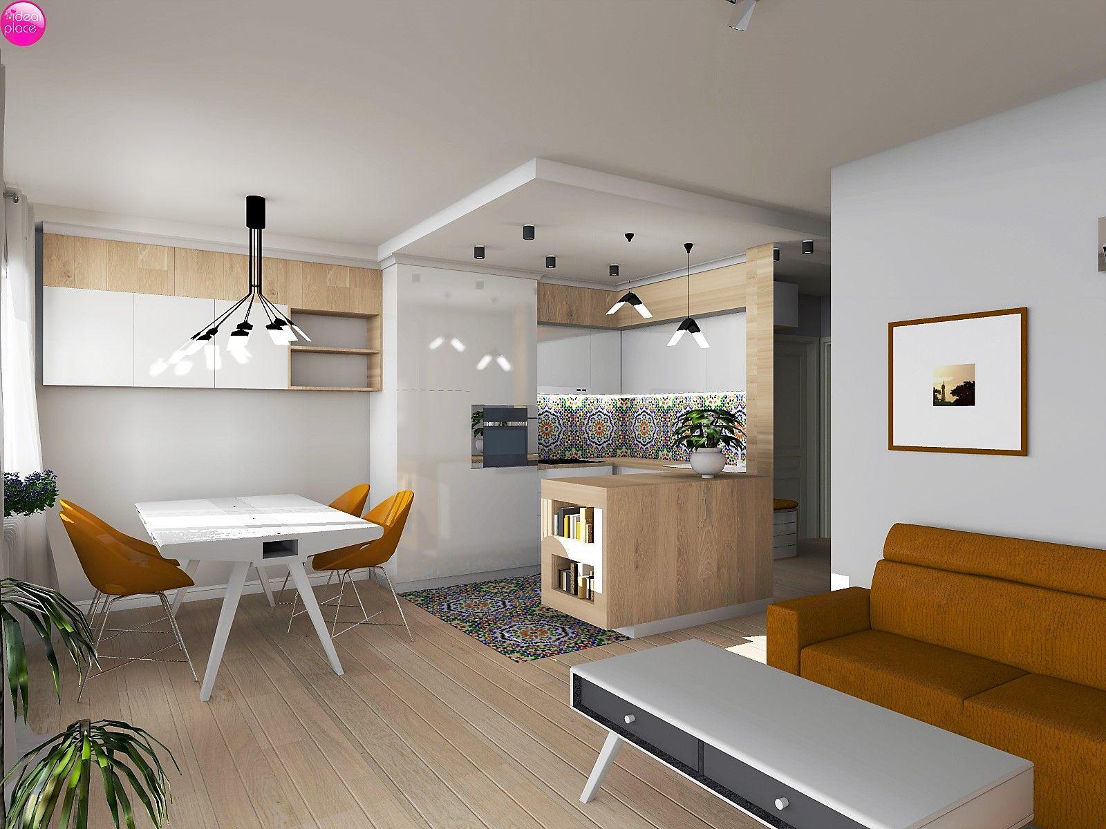 Projekt Mieszkania Chorzów Salon Z Aneksem Kuchennym