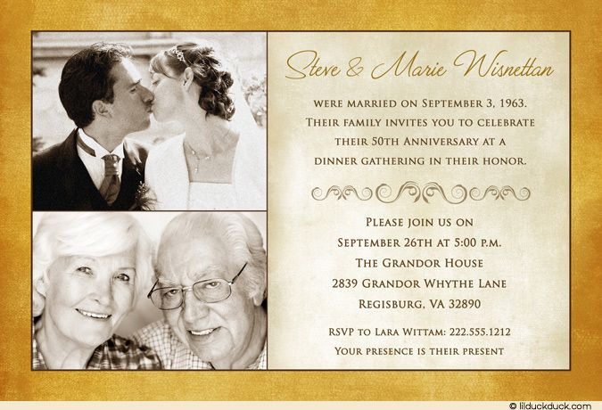 Two photo anniversary invitation golden 50 years ivory theme