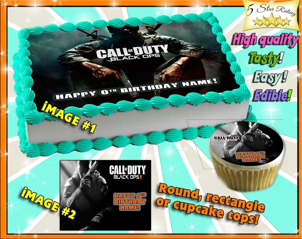 Call of Duty Advanced Warfare Birthday Cake topper Edible sugar