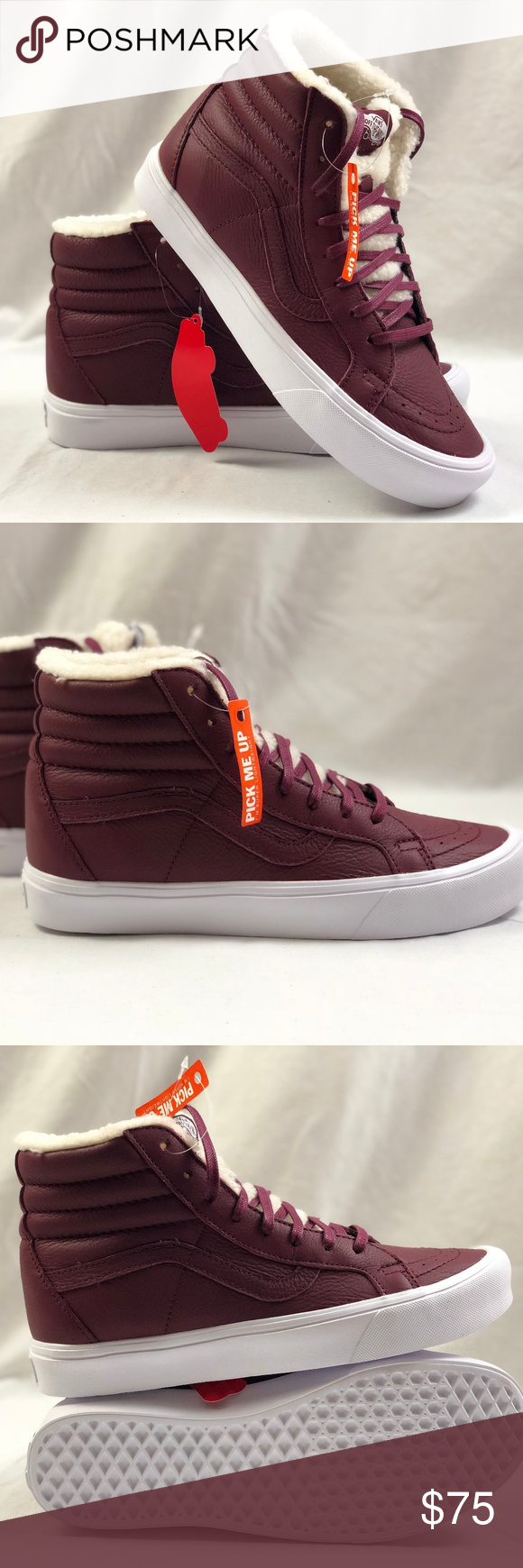 c68872dde5 Vans SK8 Hi Reissue Li Sherpa Burgundy True White Vans SK8 Hi Reissue Li  Sherpa Burgundy True White. Condition  New with box. Size  Women s 9.5